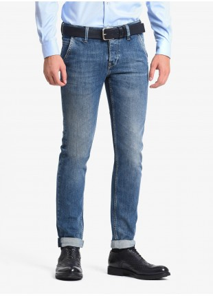 John Barritt man jeans with american pockets on front, slim fit, in stretch denim fabric, color blue stone wash. Composition 99% cotton 1% elastane. Bluette