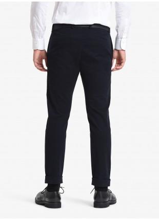 John Barritt man pants, slim fit, side pockets on the front side and welt pockets on back, finished edge on bottom. Stretch washed cotton fabric. Color blue. Composition 98% cotton 2% elastane. Blue