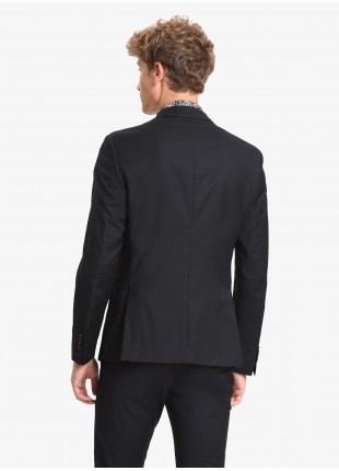 John Barritt man jacket, slim fit, full body lining, two buttons, double vent, flap pockets, amf. Polyester/viscose stretch fabric. Color black. Composition 75% polyester 23% viscose 2% elastane. Nero