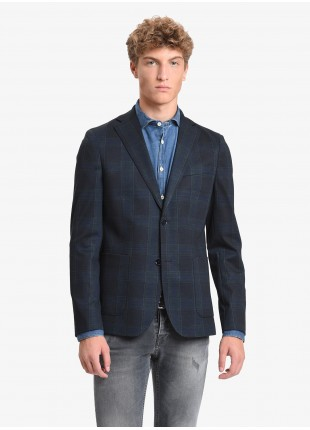 John Barritt man jacket, slim fit, full body lining, two buttons, double vent, patch pockets, amf. Stretch jersey fabric with check design. Color blue/green. Composition 57% polyester 36% viscose 7% elastane. Blue
