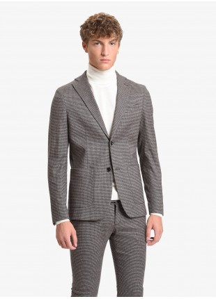 John Barritt man jacket, slim fit, full body lining, two buttons, double vent, patch pockets. Stretch cotton fabric with micro pied-de-poule pattern. Color brown. Composition 99% cotton 1% elastane. Light Brown