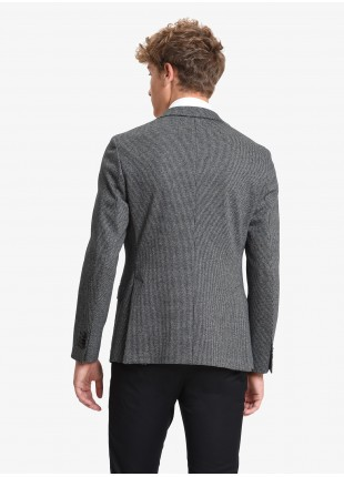John Barritt man jacket, slim fit, half body lining, two buttons, double vent, flap pockets, amf. Stretch jersey fabric with micro pied-de-poule pattern. Color dark grey. Composition 62% cotton 35% polyester 3% elastane. Medium Grey Melange