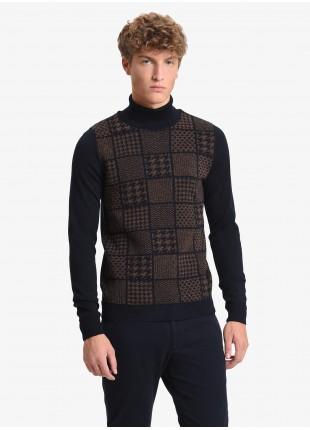 John Barritt man turtle neck sweater, slim fit, jacquard design on front. Color blue/brown. Composition 50% wool 45% acrylic 5% silk. Blue