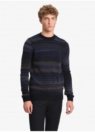 John Barritt man crew neck sweater, slim fit, multicolor fancy yarn. Color grey/white. Composition 50% wool 50% acrylic. Nero