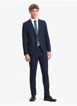 John Barritt man suit, slim fit, two buttons, double vent and amf. Lenght jacket 72 cm. Polyester/viscose stretch fabric. Color blue. Composition 79% polyester 20% viscose 1% elastane. Blue
