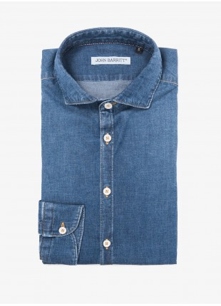 John Barritt man shirt, slim fit, half french collar, stretch cotton fabric, color blue jeans with stone wash, contrast stitching color tobacco. Composition 99% cotton 1% elastane. Blue
