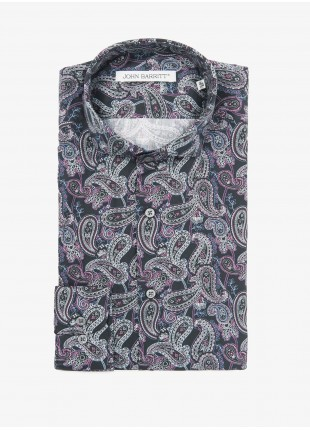 John Barritt man shirt, slim fit, printed cotton fabric with cashmere pattern, half french collar, color black/violet. Composition 100% cotton. Blue