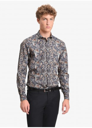 John Barritt man shirt, slim fit, printed cotton fabric with cashmere pattern, half french collar, color blue/mustard. Composition 100% cotton. Blue
