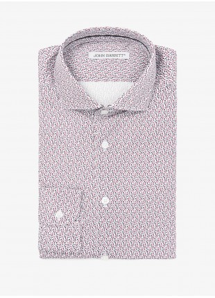 John Barritt man shirt, slim fit, stretch cotton fabric with floral print, half french collar, color red/blue. Composition 97% cotton 3% elastane. White