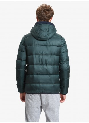 John Barritt man padded jacket with synthetic filling, frontal closure by zip, two frontal zip pockets, adjustable hood. Green color outside and rust color inside. Composition 100% polyester. Light Green