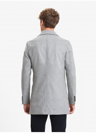 John Barritt man coat, full body lining, slim fit, front closure with three buttons. Mixed wool fabric, color light grey melange. Composition 75% wool 25% polyamide. Light Grey Melange