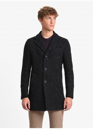 Casual slim coat, without shoulder pads, full body lining, with outdise top stitched, lenght 85 cm. Knit heavy wool blend fabric, black colour with few grey dots. 34%WO 31%PC 21%PL 7%SE 4%WP 3%AF Nero