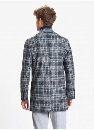 John Barritt man coat, full body lining, slim fit, front closure with three buttons. Jersey fabric with check design, color grey/blue. Composition 45% polyester 40% acrylic 15% pure wool. Medium Grey Melange