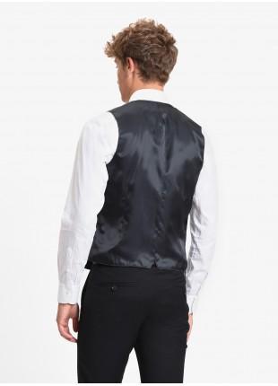 John Barritt man waistcoat, slim fit, flap pockets. Stretch jersey fabric with micro pied-de-poule pattern. Color blue. Composition 62% cotton 35% polyester 3% elastane. Medium Grey Melange
