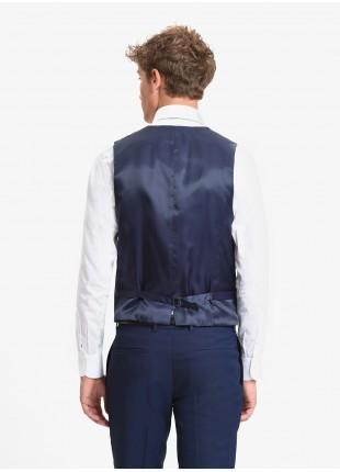 John Barritt man waistcoat, slim fit, welt pockets, ticket pocket, adjustable loop on back. Polyester/viscose stretch fabric. Color blue. Composition 79% polyester 20% viscose 1% elastane. Bluette