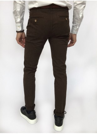 Man chinos pants, slim fit, in stretch cotton fabric, garment dyed . Dark brown colour. Composition 97% cotton 3% elastane. Light Brown