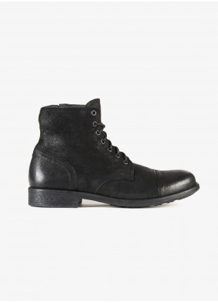 John Barritt man high shoes, boots style with side zip. In real leather, color black. Rubber sole. Composition 100% lamb leather. Dark Grey Melange