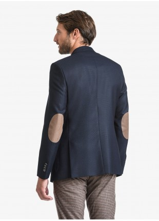 John Barritt man jacket, regular fit, full body lining, two buttons, double vent, patch pockets, pochette, amf and alcantara patches in contrast. Fabric with micro design, color blue. Composition 50% polyester 50% wool. Blue