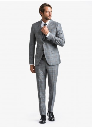 John Barritt fall-winter man suit, slim fit, two buttons, double vent and amf. Lenght jacket 72 cm. Fabric with galles design. Composition 70% wool 30% polyester. Light Grey Melange