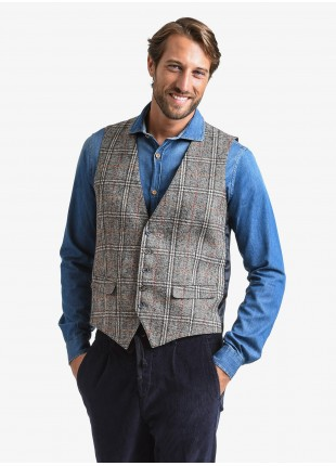 John Barritt man gilet, slim fit, flap pockets, jersey fabric, fabric with galles design. Color brown. Composition 50% wool 40% acrylic 10% polyamide. Light Brown