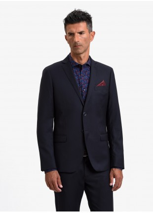 John Barritt man jacket, slim fit, full body lining, two buttons, double vent, flap pockets, pochette and amf. Poly/viscose stretch fabric. Color blue. Composition 75% polyester 23% viscose 2% elastane. Blue