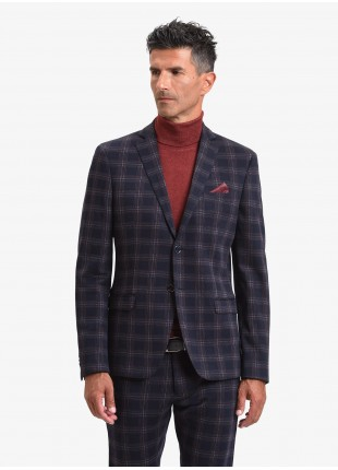 John Barritt man jacket, slim fit, full body lining, two buttons, double vent, flap pockets, pochette and amf. Jersey fabric with check design. Color blue. Composition 100% cotton. Blue