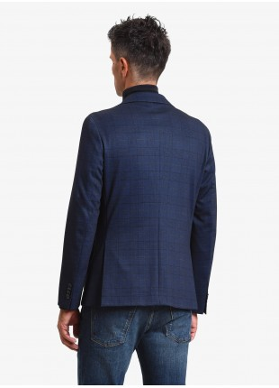 John Barritt man jacket, slim fit, full body lining, two buttons, double vent, patch pockets, pochette and amf. Jersey fabric with printed check design. Color blue. Composition 60% polyester 35% viscose 5% elastane. Blue