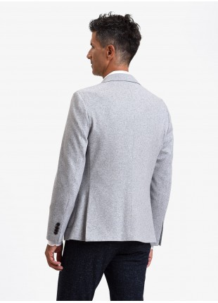 John Barritt man jacket, slim fit, full body lining, two buttons, double vent, patch pockets, pochette and amf. Mixed wool jersey fabric. Color light grey. Composition 65% wool 35% polyester. Light Grey Melange