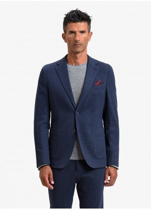 John Barritt man jacket, slim fit, half body lining, two buttons, double vent, patch pockets, pochette and amf. Jersey fabric with micro design. Color blue. Composition 100% cotton. Bluette
