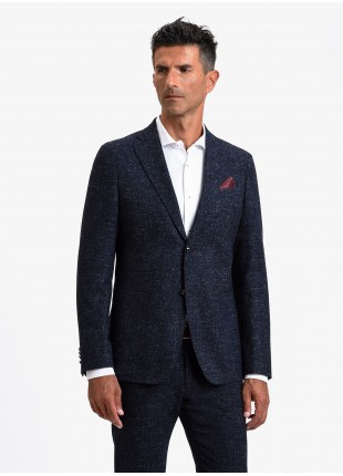 John Barritt man jacket, slim fit, half body lining, two buttons, double vent, patch pockets, pochette and amf. Mixed wool fabric. Color blue. Composition 62% wool 17% polyamide 13% polyester 6% viscose 2% other fibers. Blue