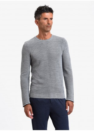 John Barritt man crew neck sweater, slim fit, fancy knitted bicolor stitching, color blue/brown. Composition 50% wool 50% acrylic. Light Grey Melange