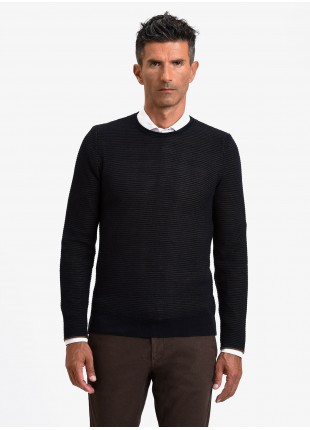 John Barritt man crew neck sweater, slim fit, fancy knitted bicolor stitching, color blue/brown. Composition 50% wool 50% acrylic. Blue