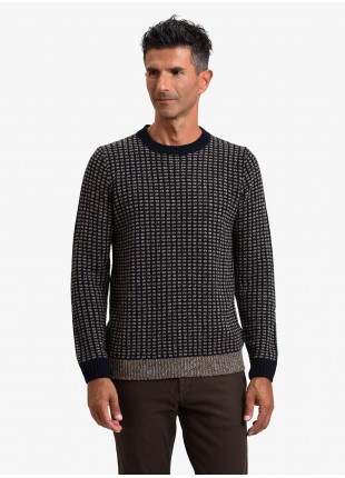 John Barritt man crew neck sweater, slim fit, fancy knitted bicolor stitching with mouline yarn. Color orange/blue. Composition 45% acrylic 45% wool 10% silk. Light Brown
