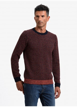 John Barritt man crew neck sweater, slim fit, fancy knitted bicolor stitching with mouline yarn. Color orange/blue. Composition 45% acrylic 45% wool 10% silk. Orange