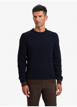 John Barritt man crew neck sweater, slim fit, fancy knitted stitching and contrast ribs. Color orange. Composition 50% wool 50% acrylic. Blue