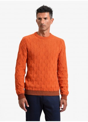John Barritt man crew neck sweater, slim fit, fancy knitted stitching and contrast ribs. Color orange. Composition 50% wool 50% acrylic. Orange