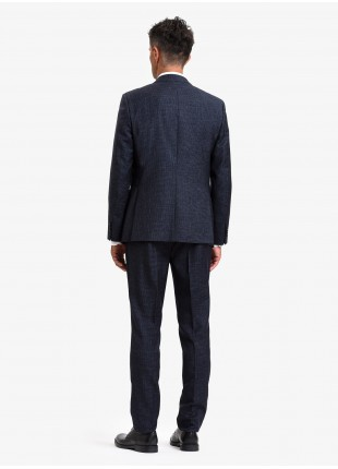 John Barritt autumn-winter man suit, regular fit, two buttons, double vent and amf. Lenght jacket 74 cm. Mixed wool fabric with pattern. Color blue. Composition 60% wool 40% polyester. Bluette