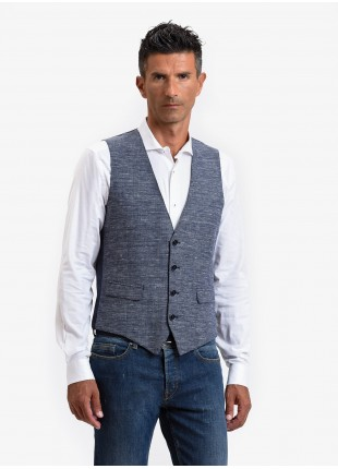 John Barritt man vest, slim fit, flap pockets, wool/linen fabric. Color light blue. Composition 46% wool 38% linen 16% polyester. Bluette