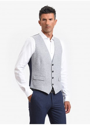 John Barritt man vest, slim fit, flap pockets, mixed wool jersey fabric. Color light grey. Composition 65% wool 35% polyester. Light Grey Melange